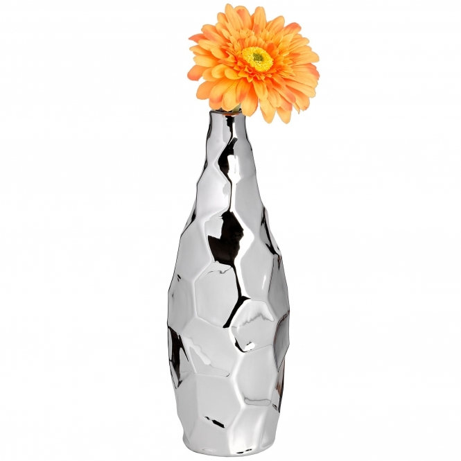 Hexed Silver Dimple Vase
