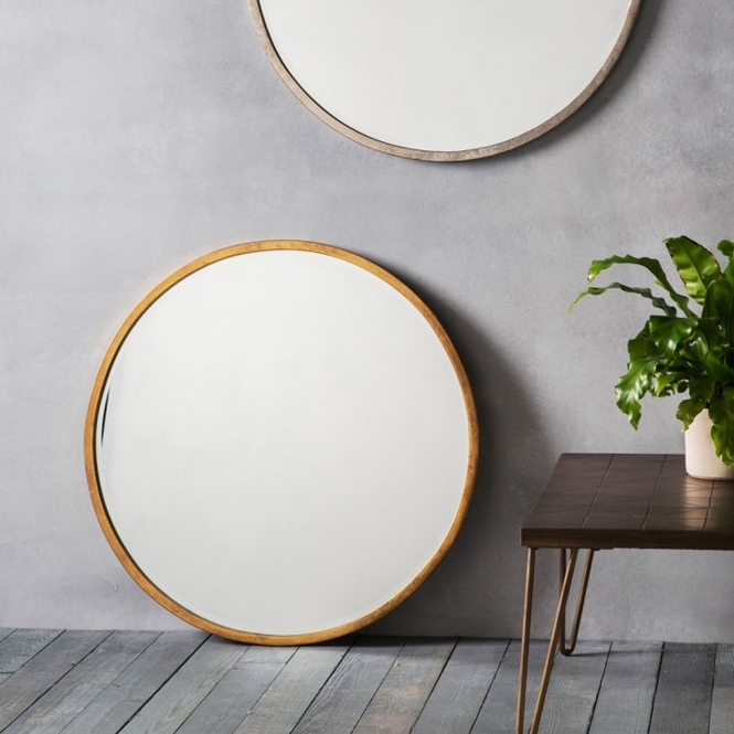 Higgins Antique Gold Round Wall Mirror