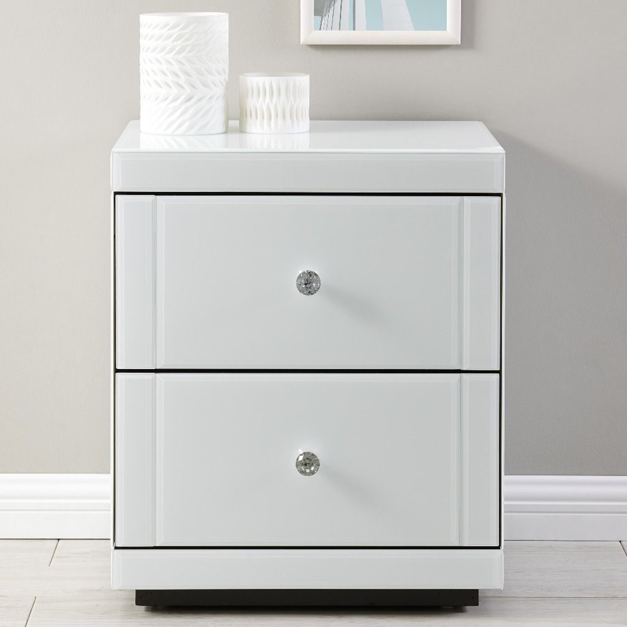 Hollywood 9 Drawer End Table-White