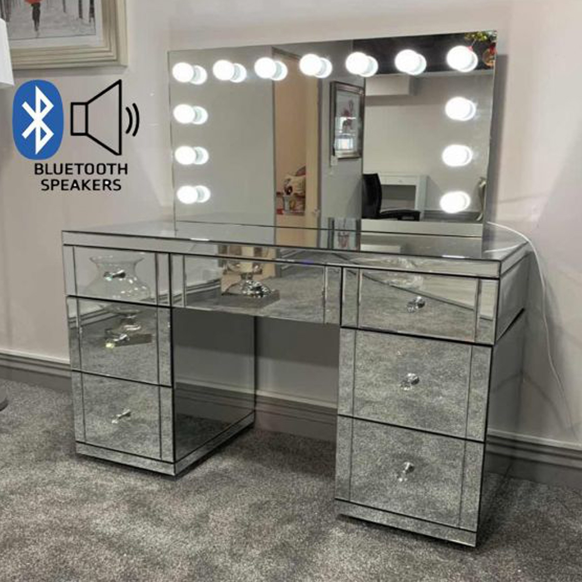 Hollywood Glass Dresser Tabletop Mirror With Bluetooth Speaker