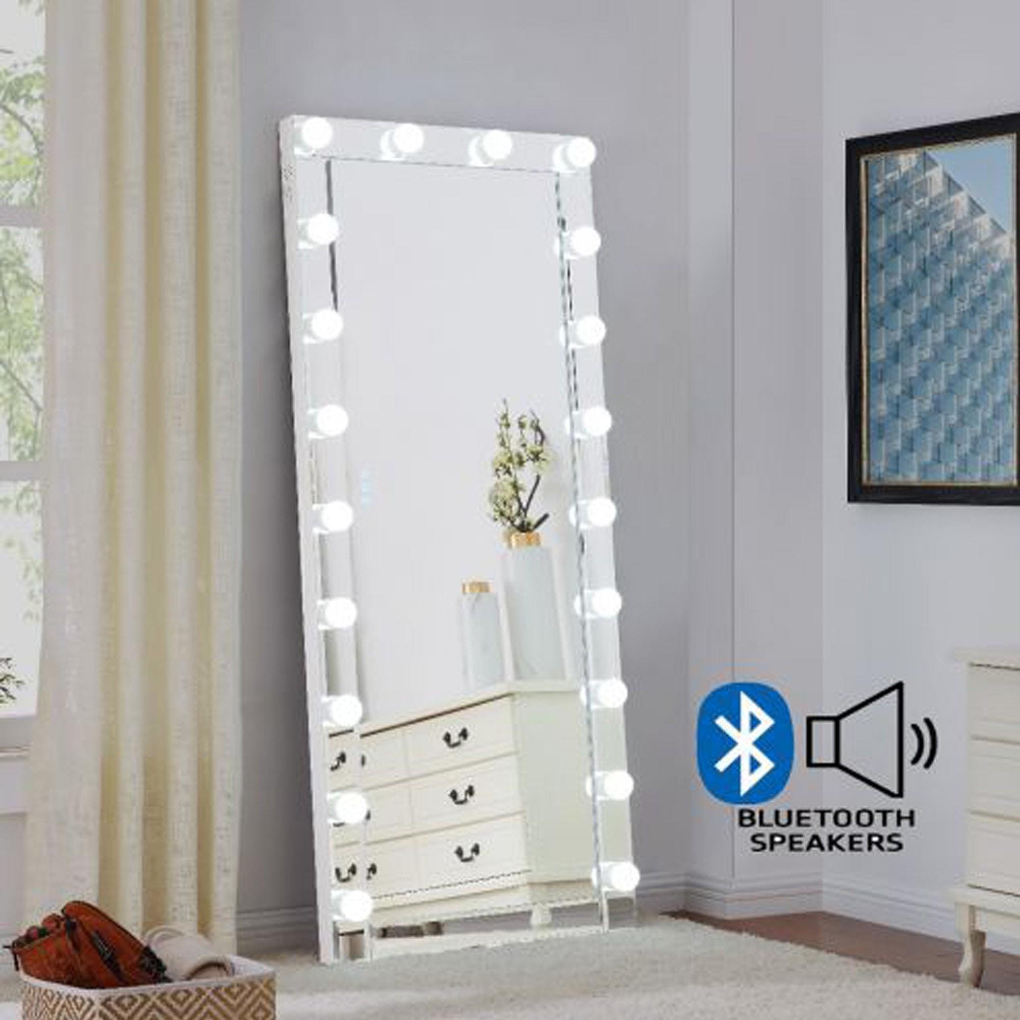 Hollywood Glass Floor Mirror With Bluetooth Speaker Floorstanding Mirrors