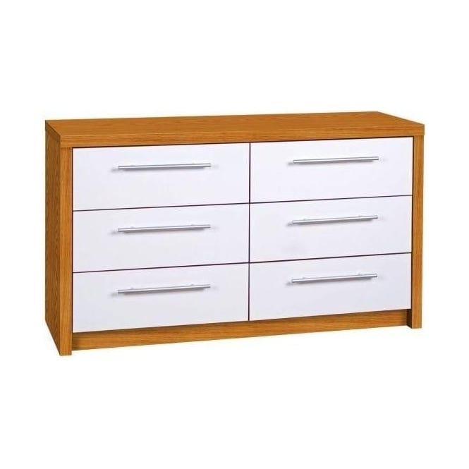 Hudson 6 Oak Veneer White High Gloss Drawer Chest