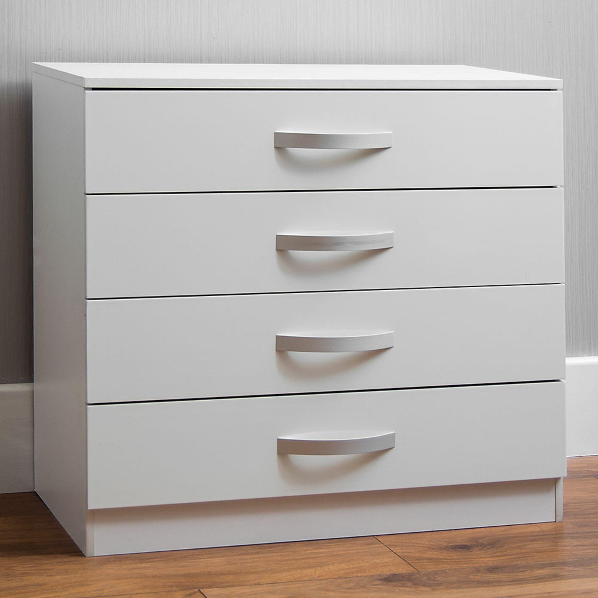 Hulio White 4 Drawer Chest Bedroom Modern
