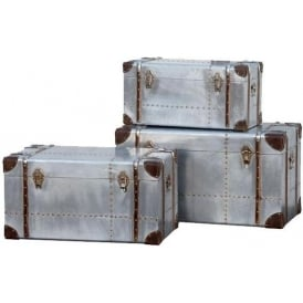 Industrial Aluminium Trunks Set of 3