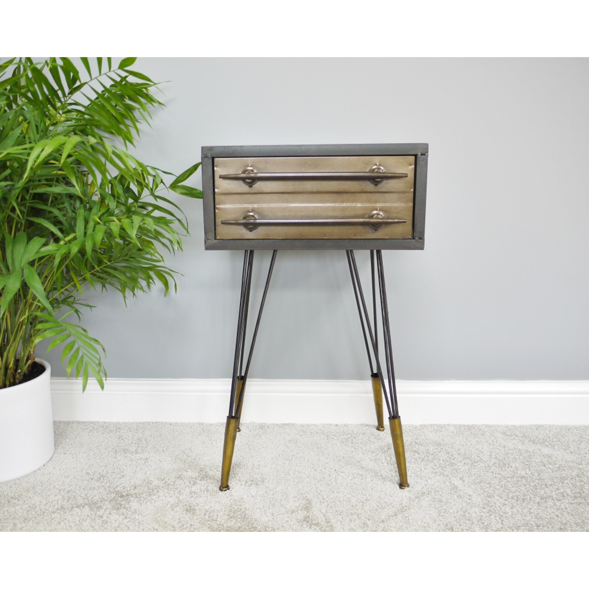 Industrial Style Bedside Table Bedroom Furniture Bedsides