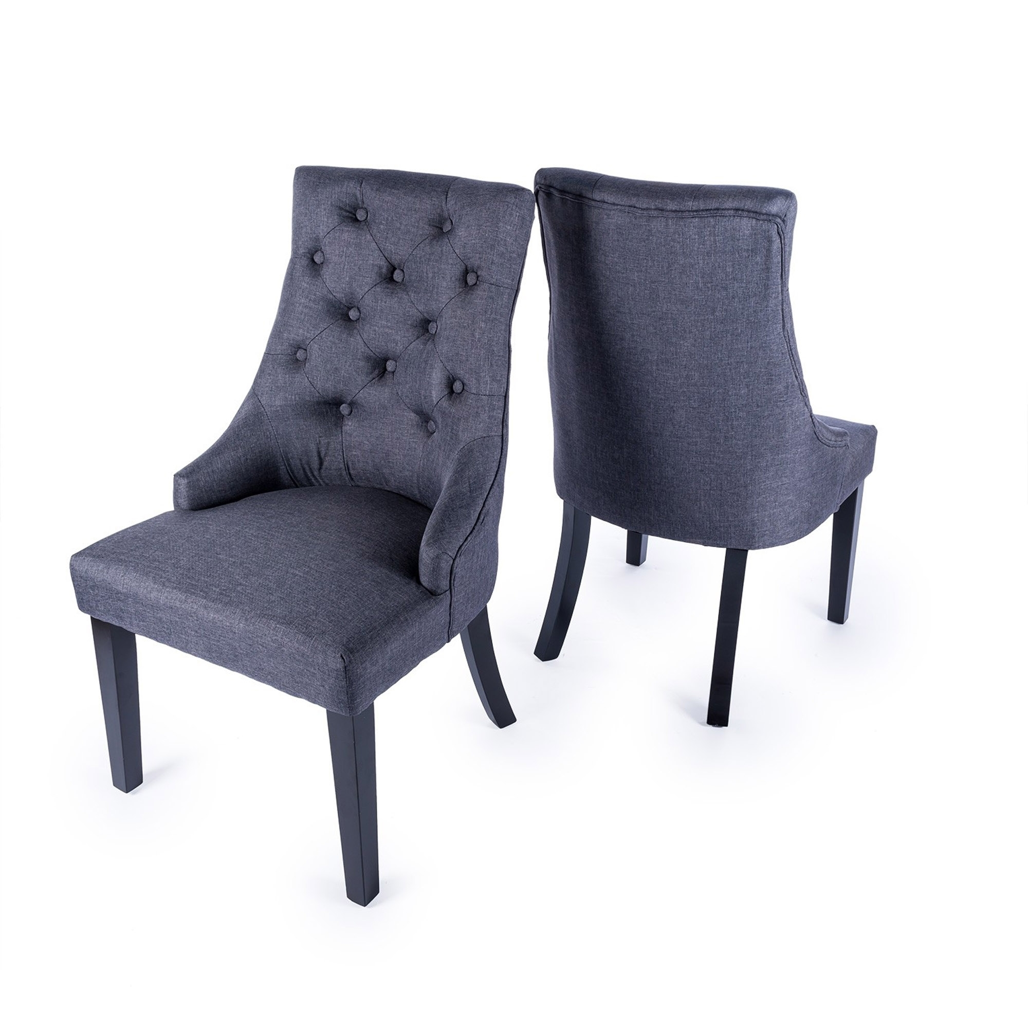Picture of: Ink Blue Linen Oak Leg Dining Chair Dining Furniture Table And Chairs