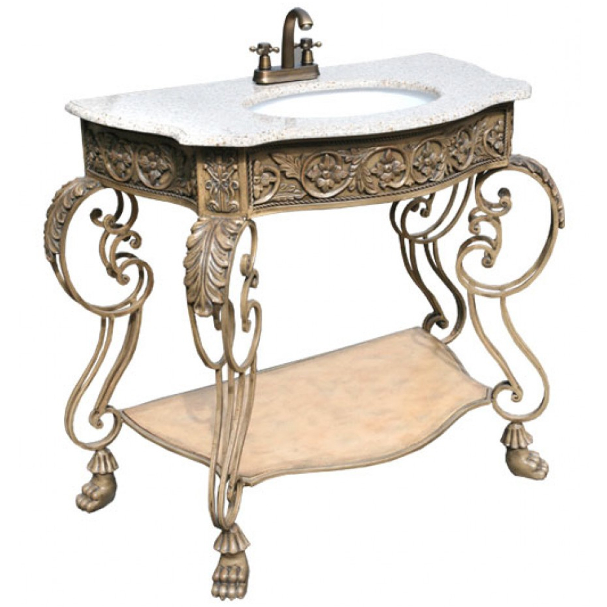 Iron Antique French Style Vanity Unit Bathroom Furniture
