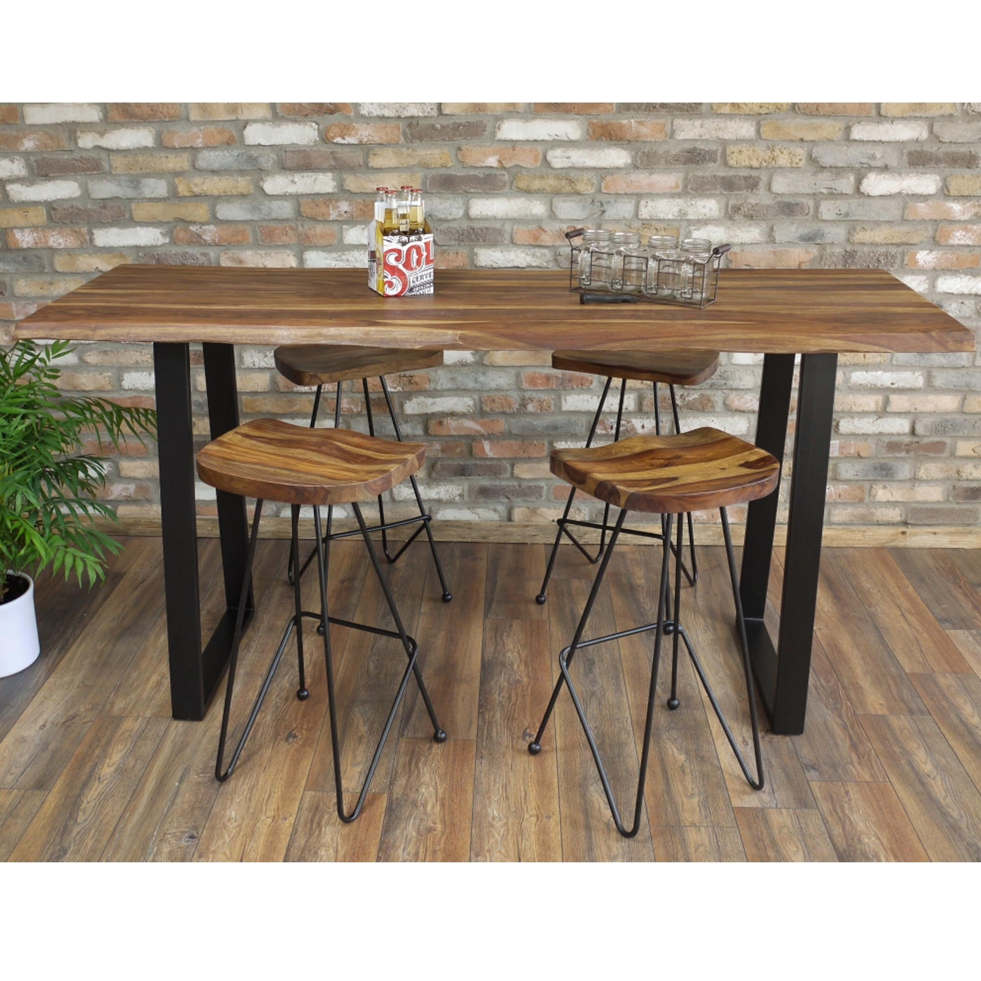 Iron Legs Living Edge Breakfast Bar Table