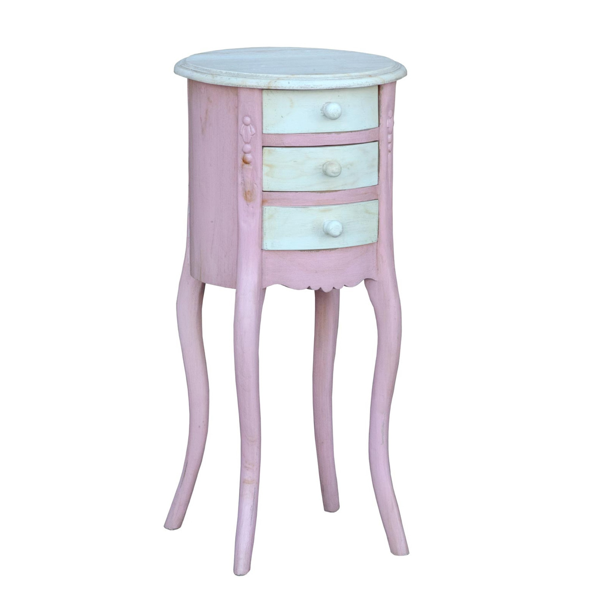 Isabella Antique French Style Pink And White Bedside Table