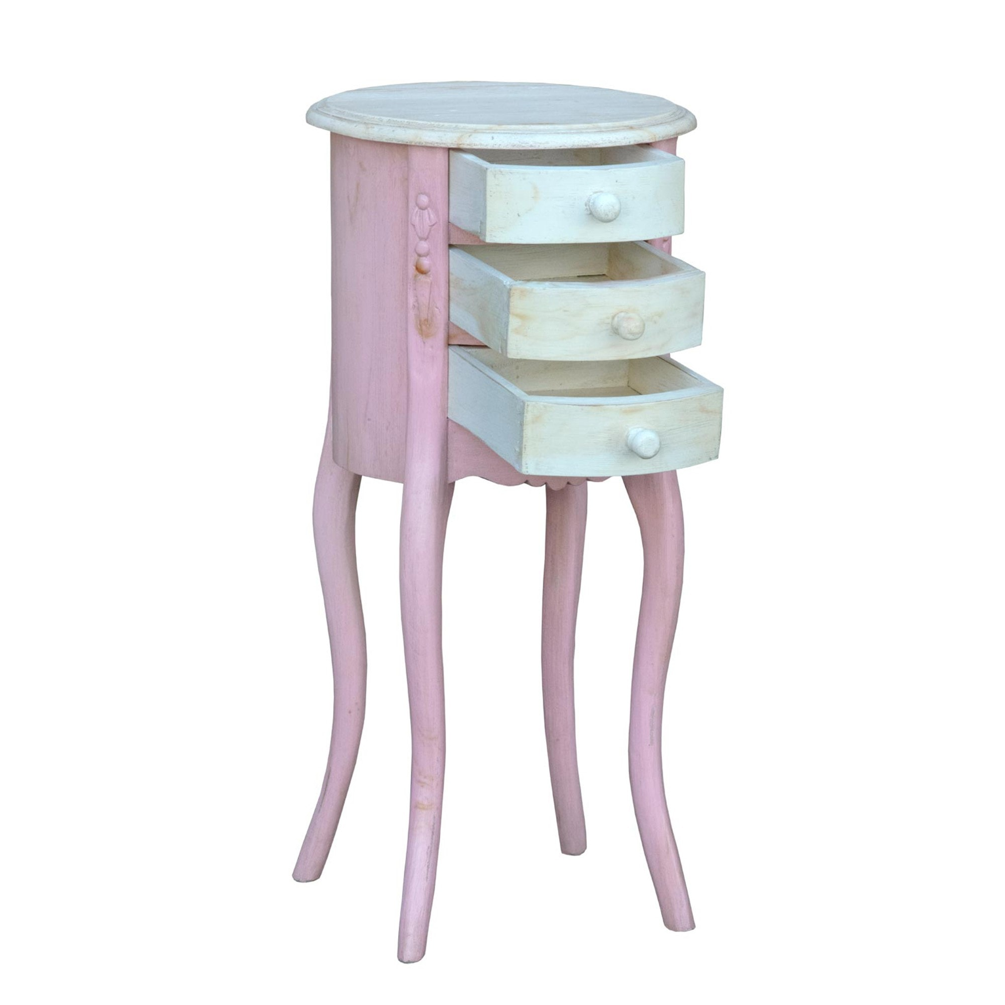 Isabella Antique French Style Pink And White Bedside Table Isabella Collection
