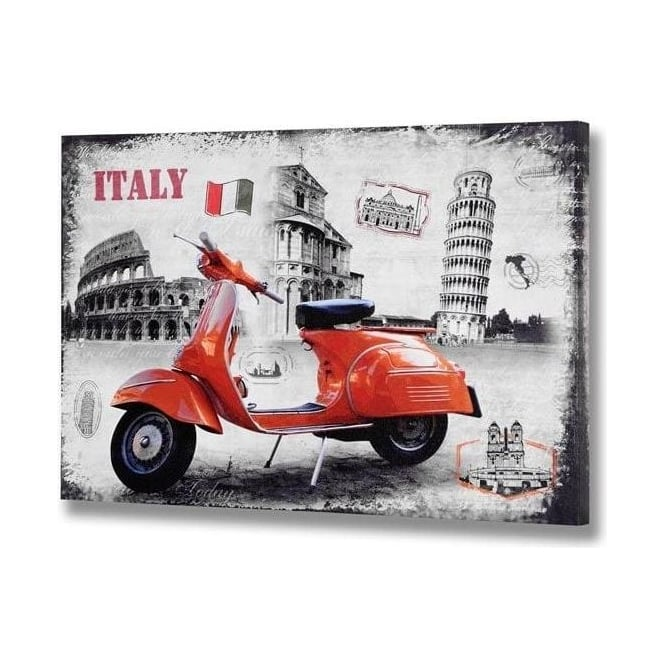 Italy Red Vespa Canvas