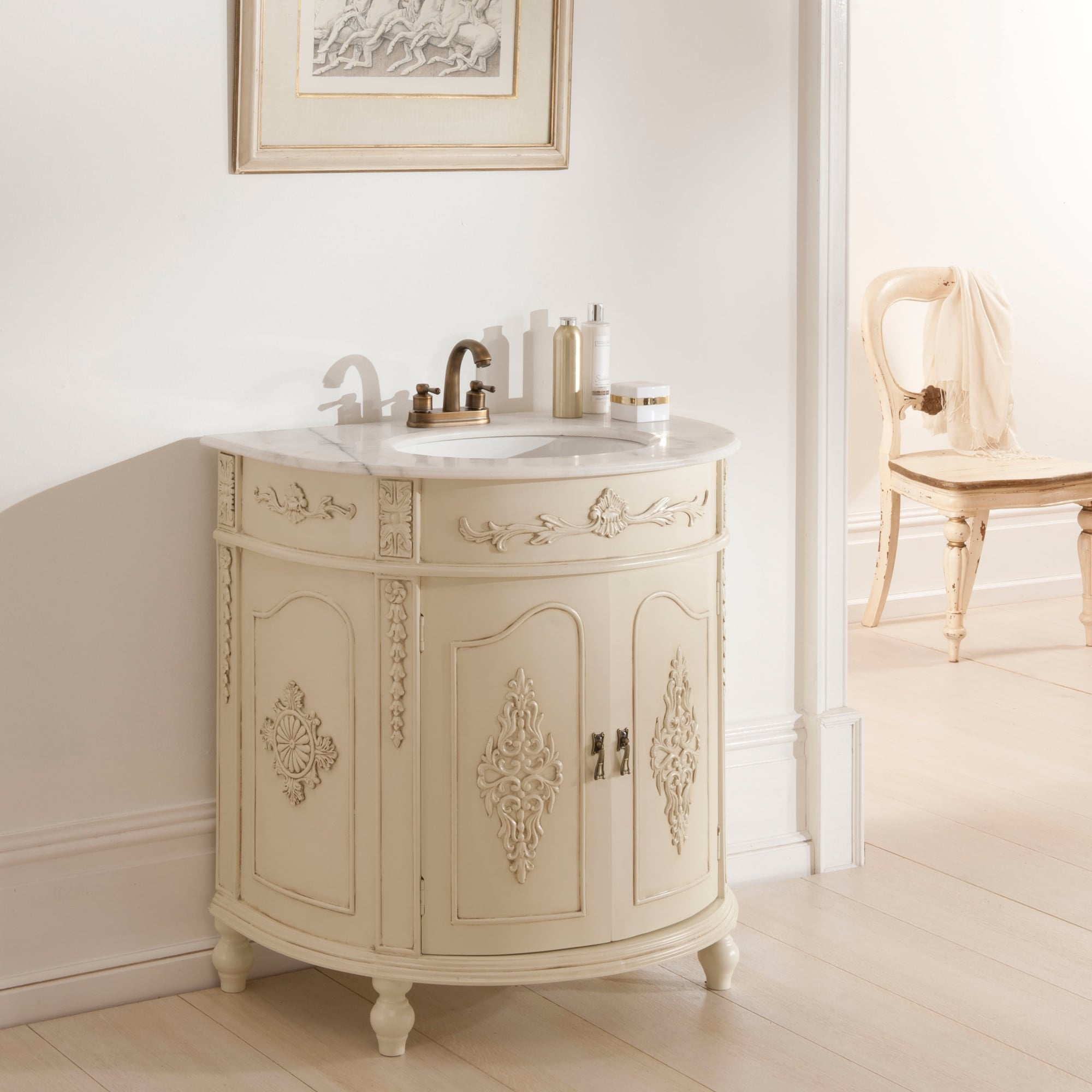 Antique french vanity unit ivory bathroom furniture for Antique bathroom vanity units