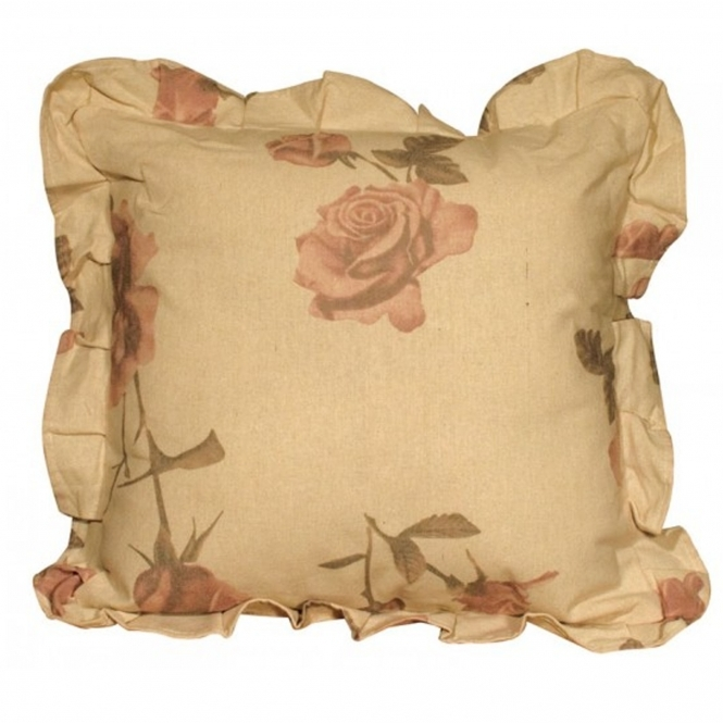 Ivory Rose Print Filled Cushion