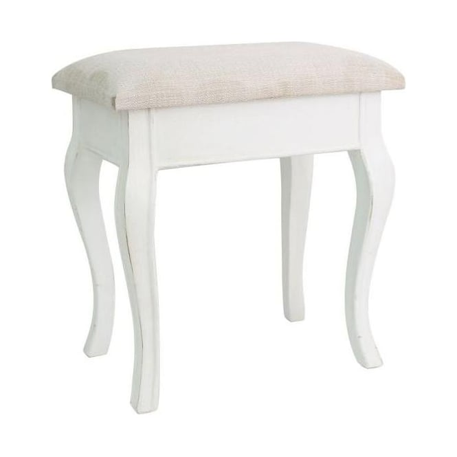 Ivory Wooden Antique French Style Stool