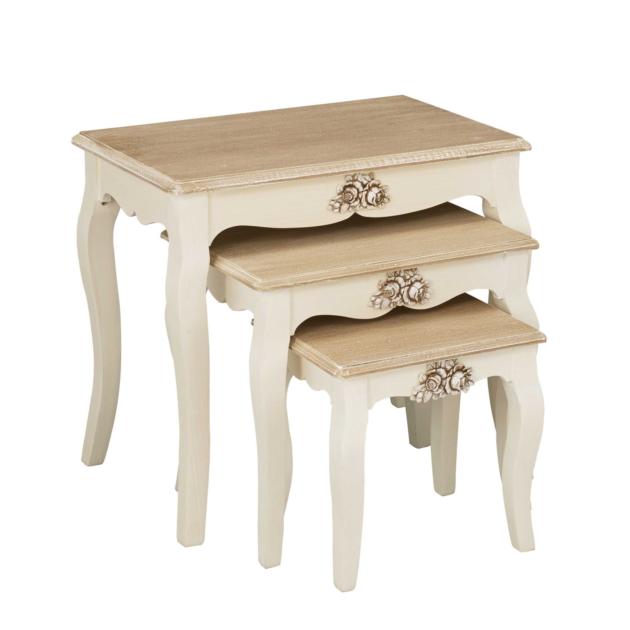 Juliette shabby chic nest of tables french furniture juliette shabby chic nest of tables watchthetrailerfo