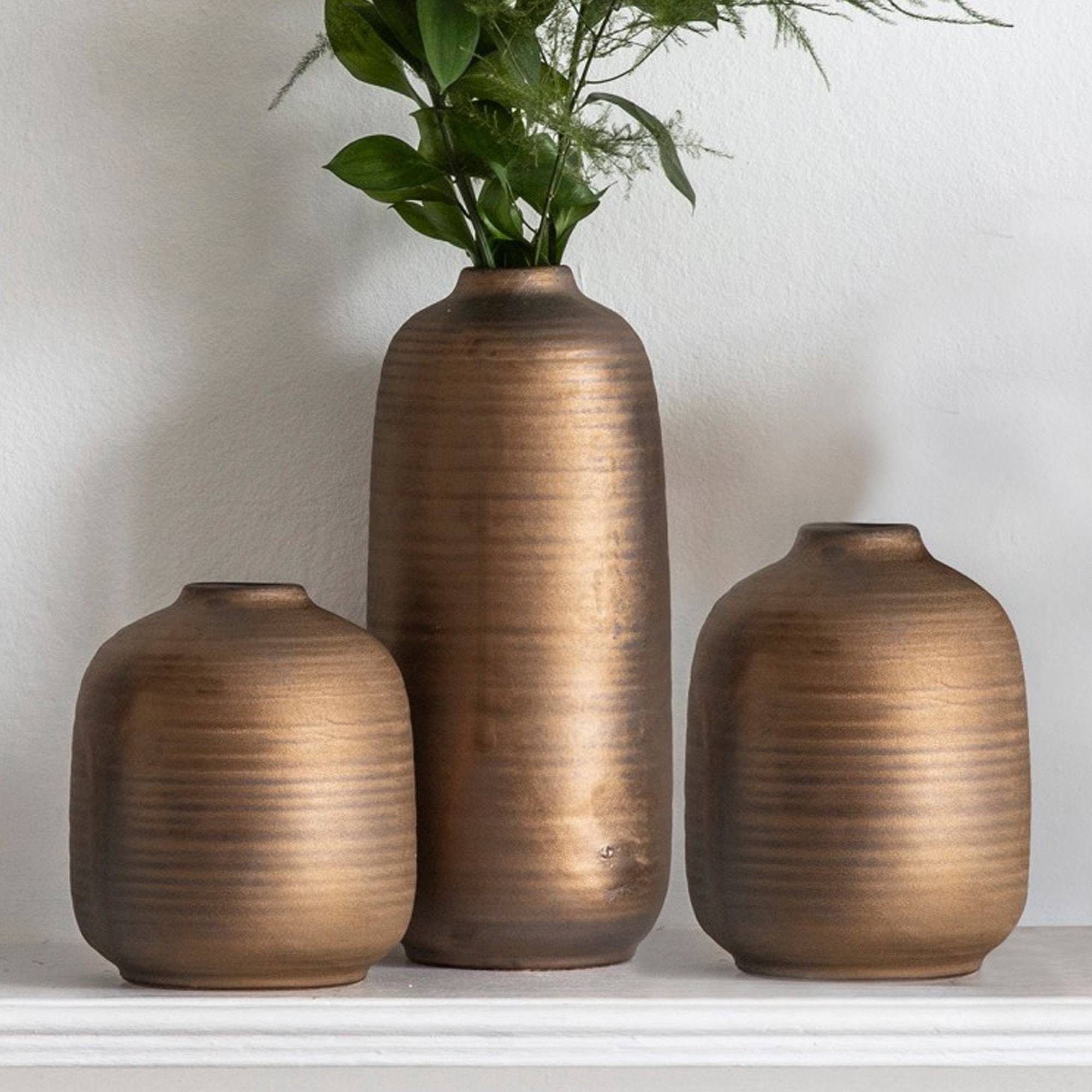 Khangi Vases Set Of 3 Copper Vases Gold Vases