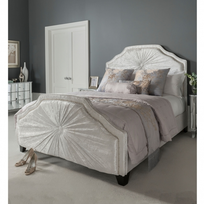 Kingsize Aurora White Fabric Crushed Velvet Bed