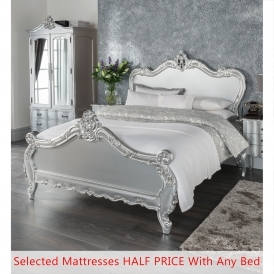 Kingsize Estelle Silver Antique French Style Bed - Half Price Mattress Bundle