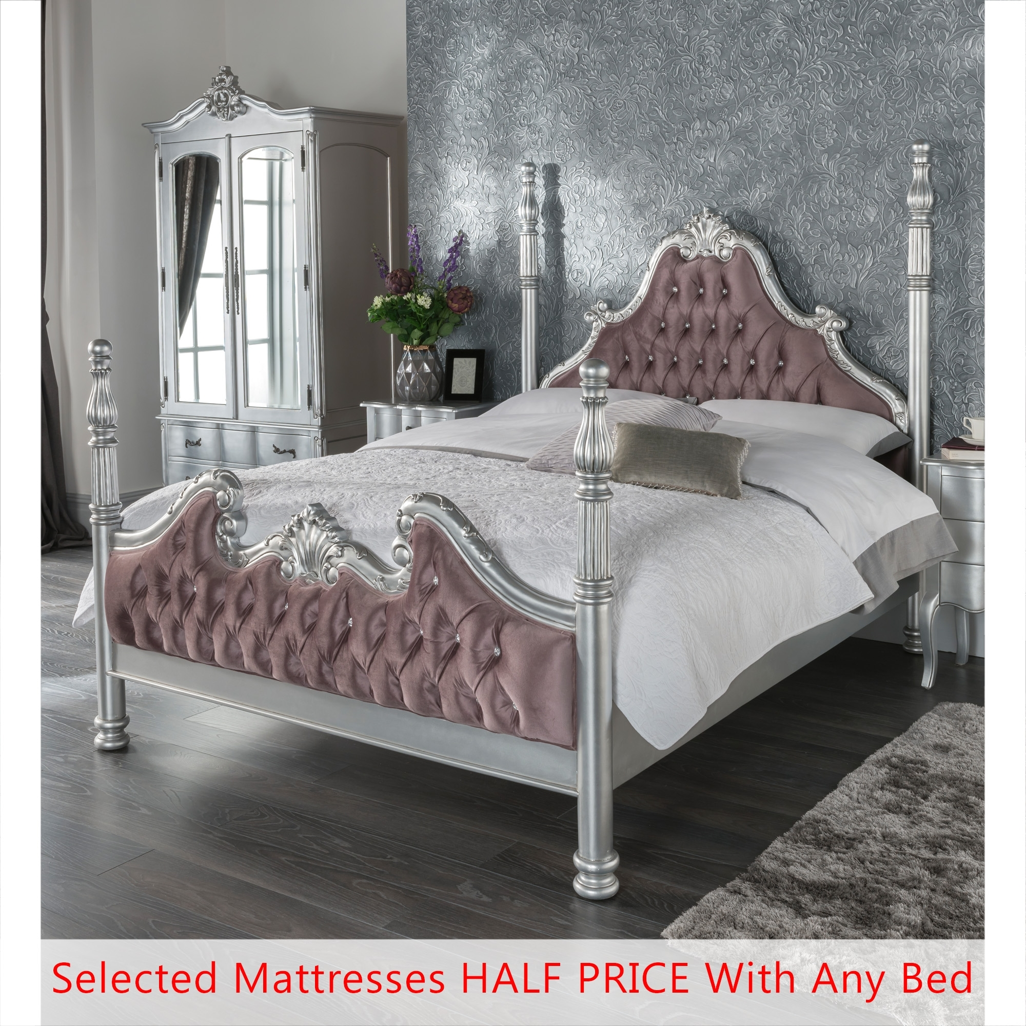 Picture of: Kingsize Estelle Silver Four Poster Antique French Style Bed Half Price Mattress Bundle French Furniture From Homesdirect 365 Uk