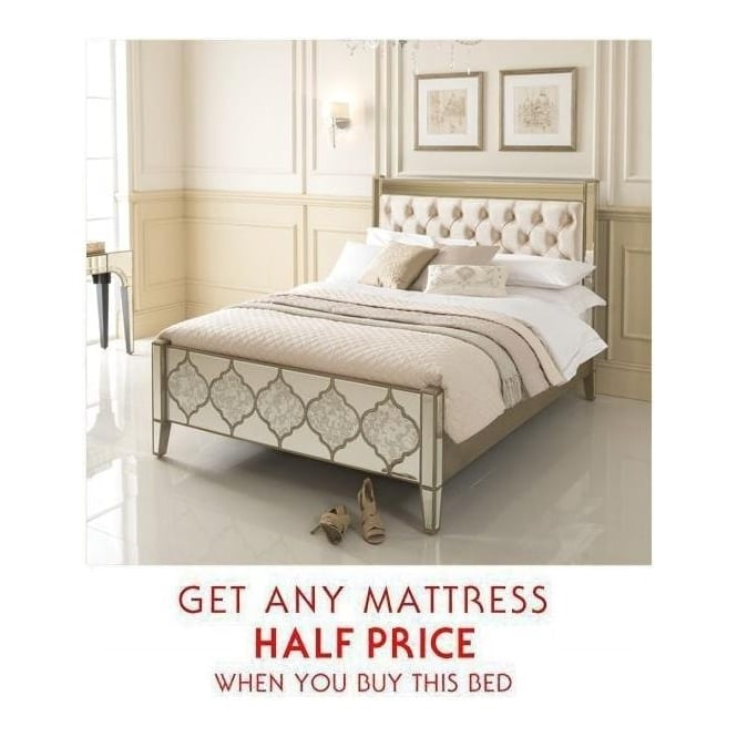 Kingsize Sassari Mirrored Bed + Mattress - Bundle Deal