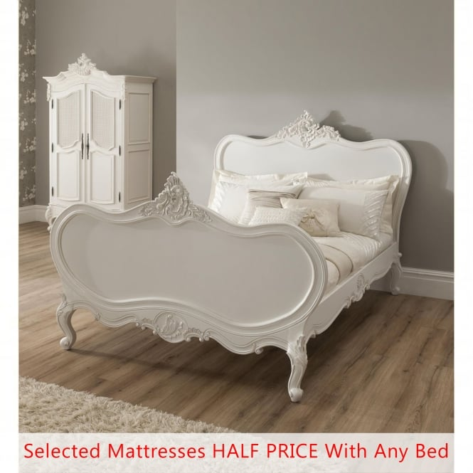 La Rochelle Antique French Bed (Size: Double) + Mattress - Bundle Deal