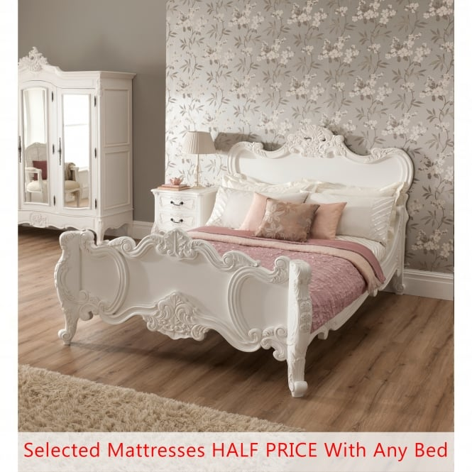 La Rochelle Antique French Bed (Size: Kingsize) + Mattress - Bundle Deal