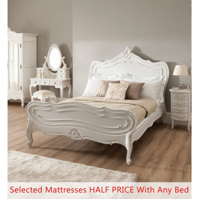 La Rochelle Antique French Bed (Size: Single) + Mattress - Bundle Deal
