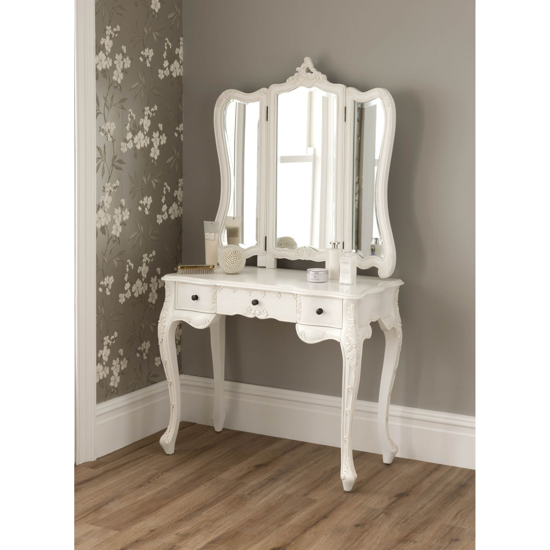 French furniture - La Rochelle Antique French Dressing Table Set Size Large