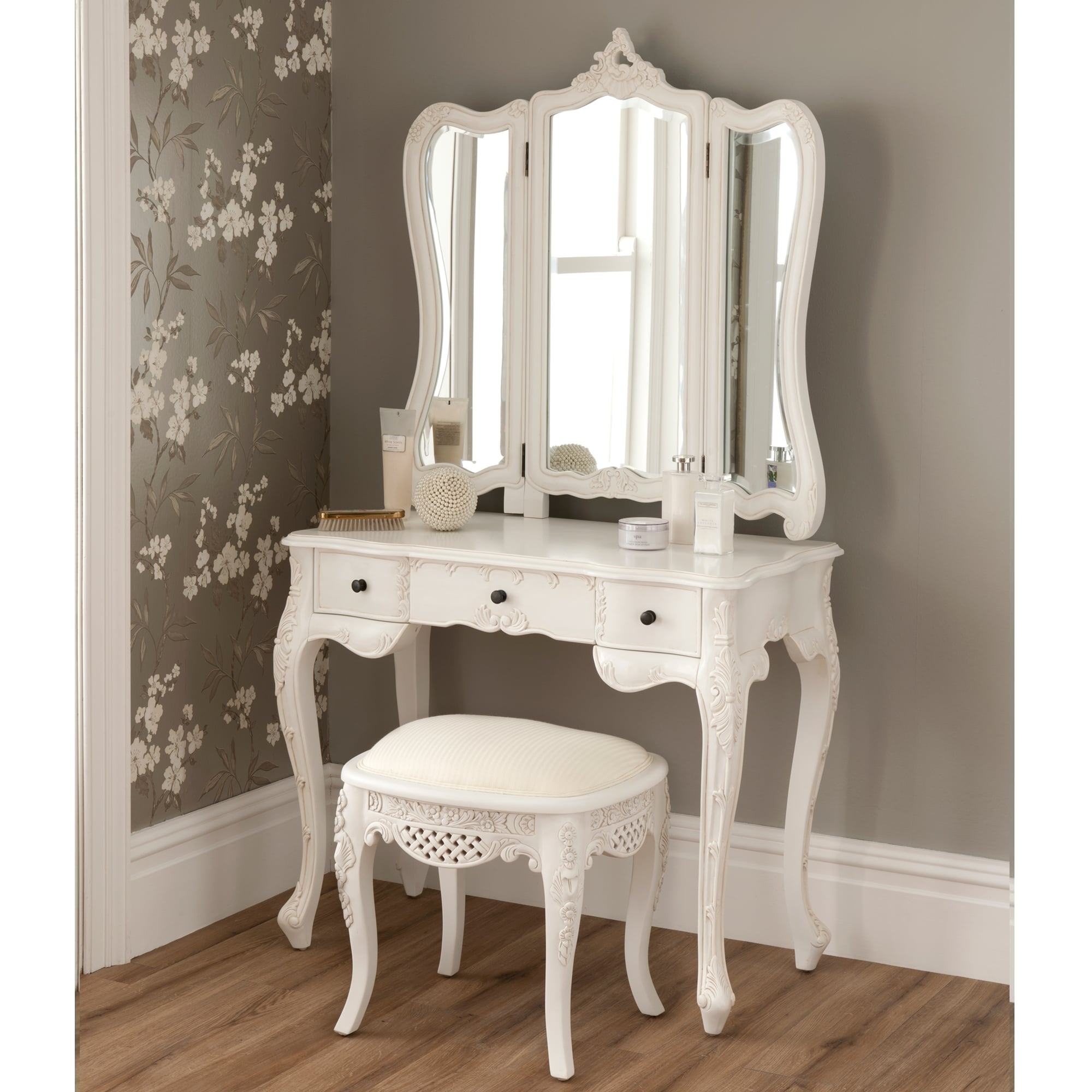La rochelle antique french dressing table set size small for Vanity dressing table