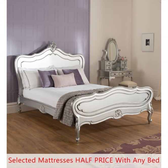 La Rochelle Antique French Silver Bed (Size: Double) + Mattress - Bundle Deal