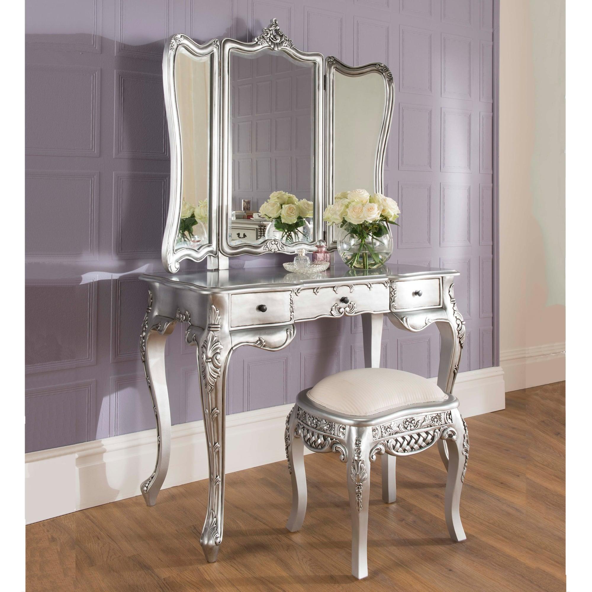 Silver french dressing table set la rochelle
