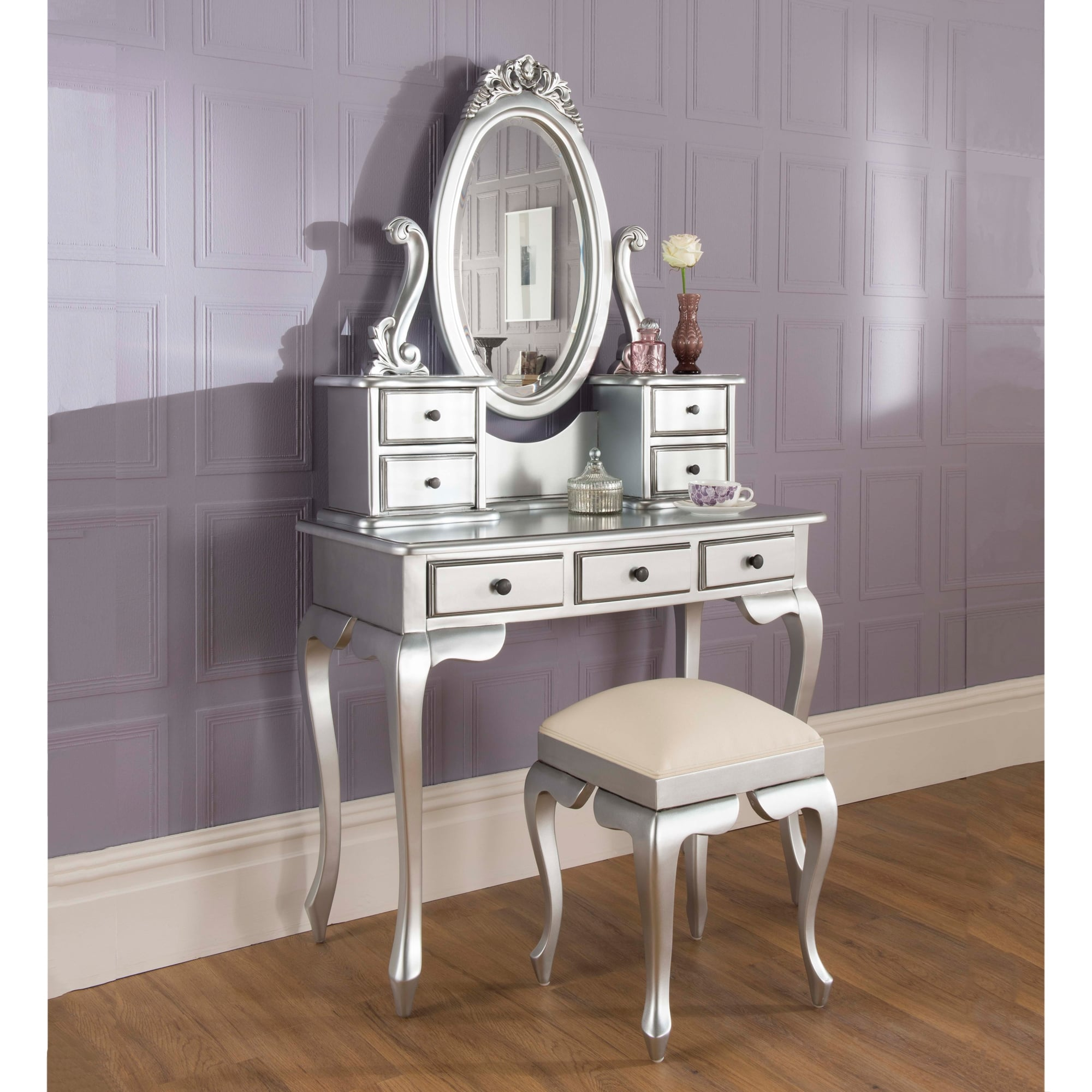Silver Dressing Table Set Antique French