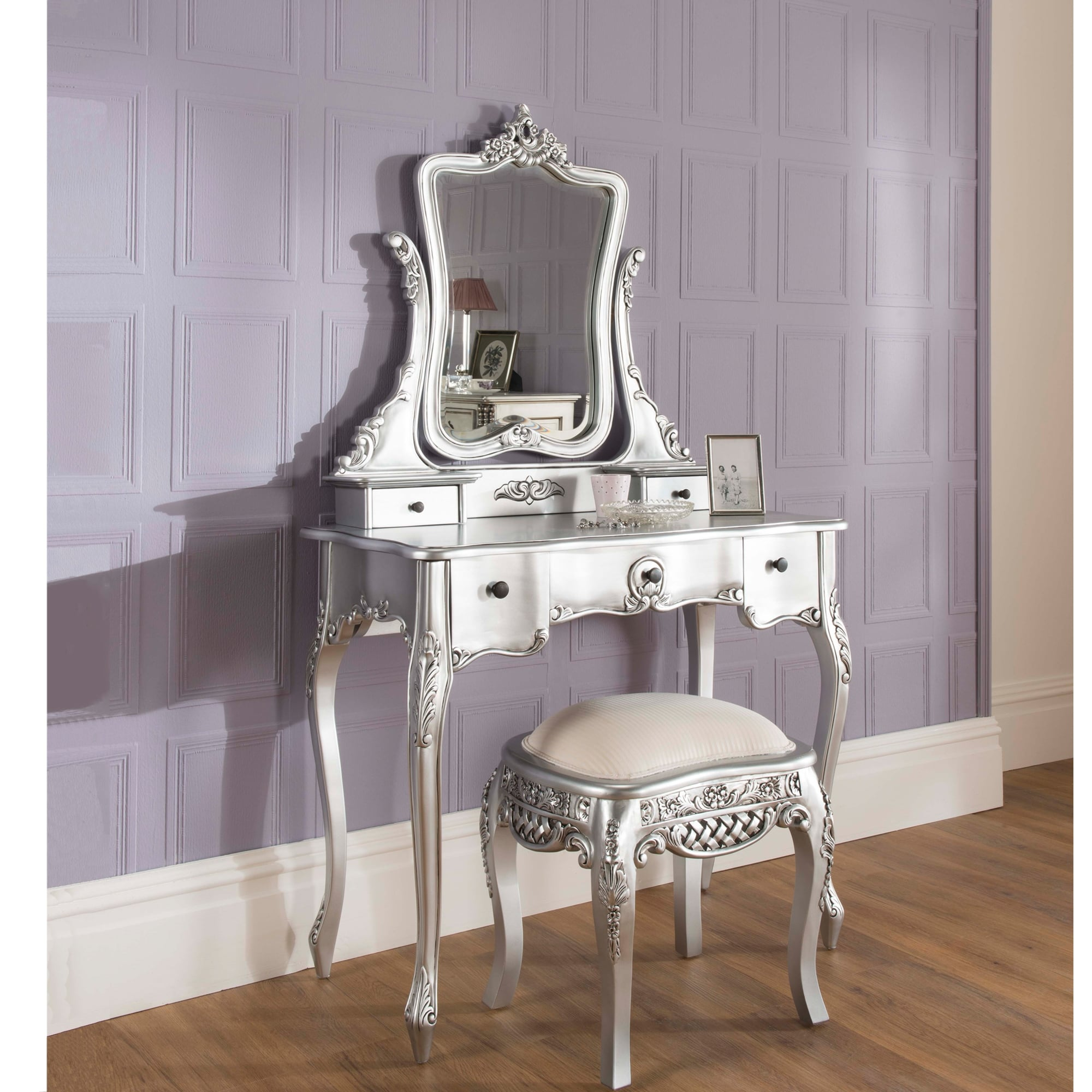 Merveilleux La Rochelle Antique French Silver Dressing Table Set