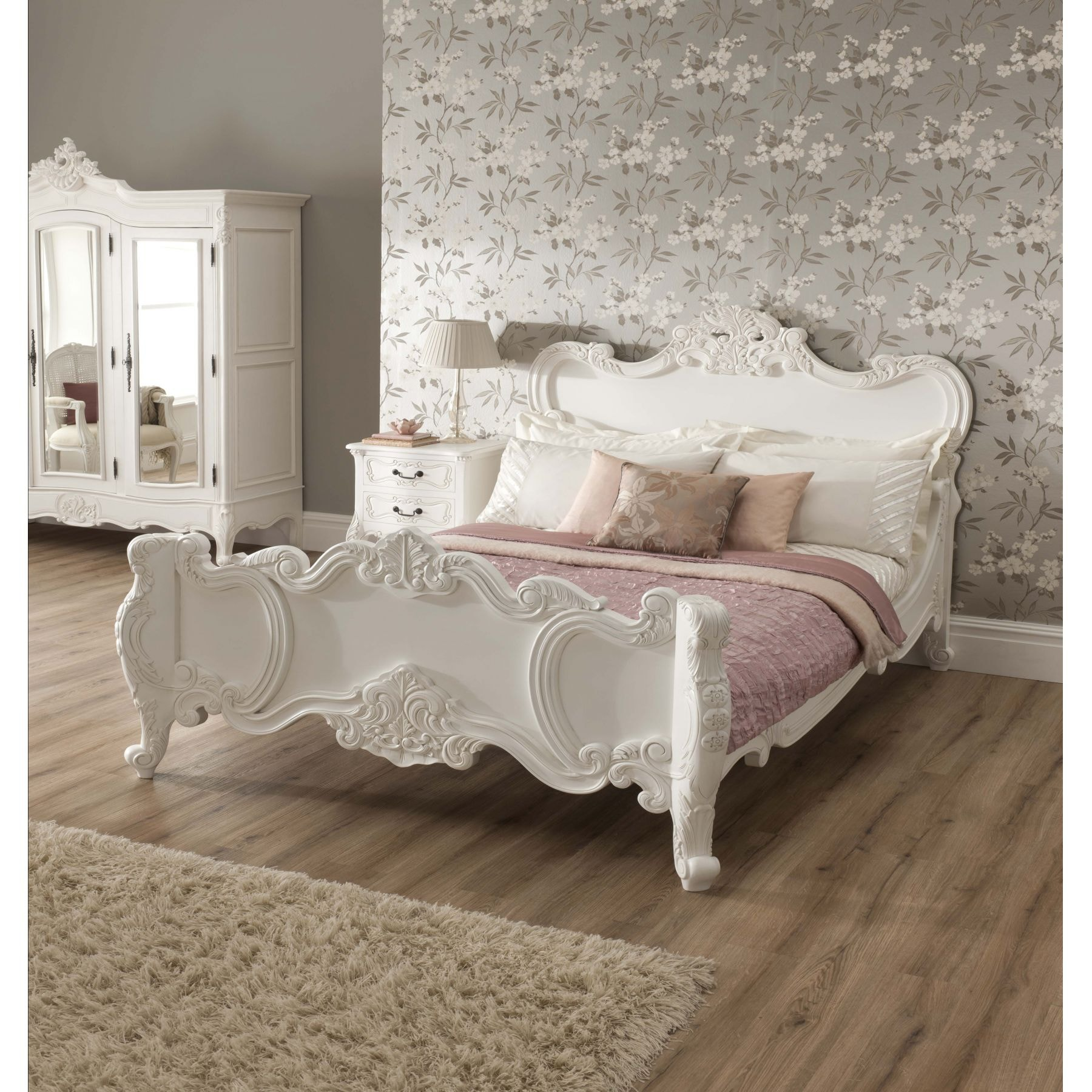 La rochelle shabby chic antique style bed shabby chic for French style bedroom furniture
