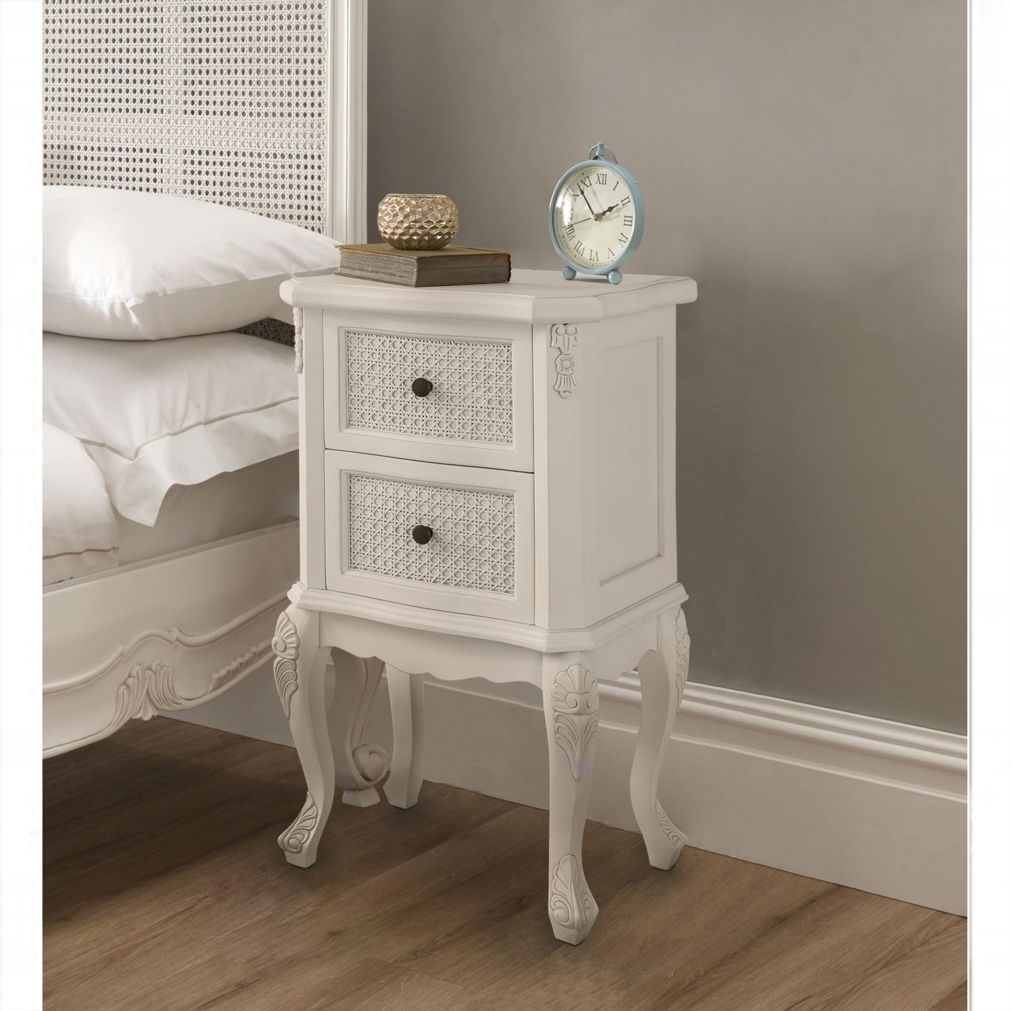 Rattan antique french style bedside table french and for French style bedroom furniture