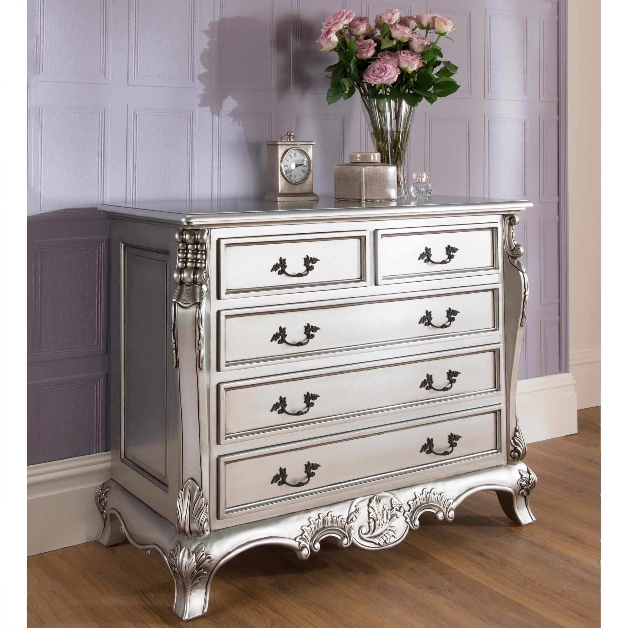 La rochelle antique french silver chest stunning range for French style bedroom furniture