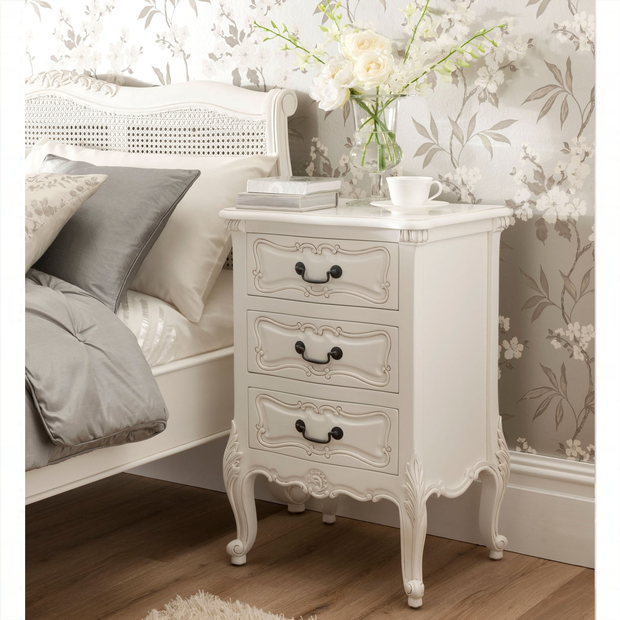 La Rochelle Antique French Bedside Table White French Style Beds