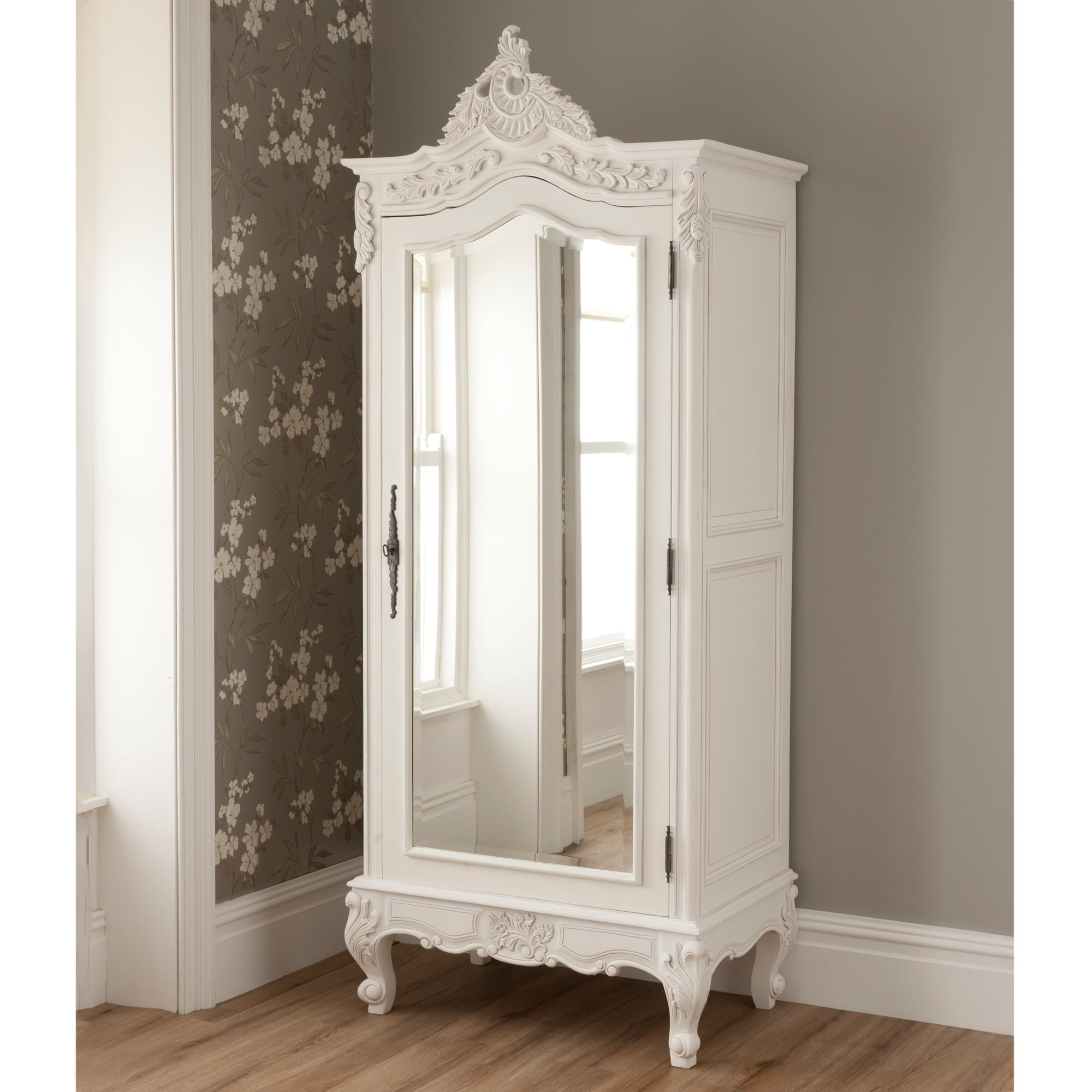 la rochelle mirrored antique french 1 door wardrobe. Black Bedroom Furniture Sets. Home Design Ideas