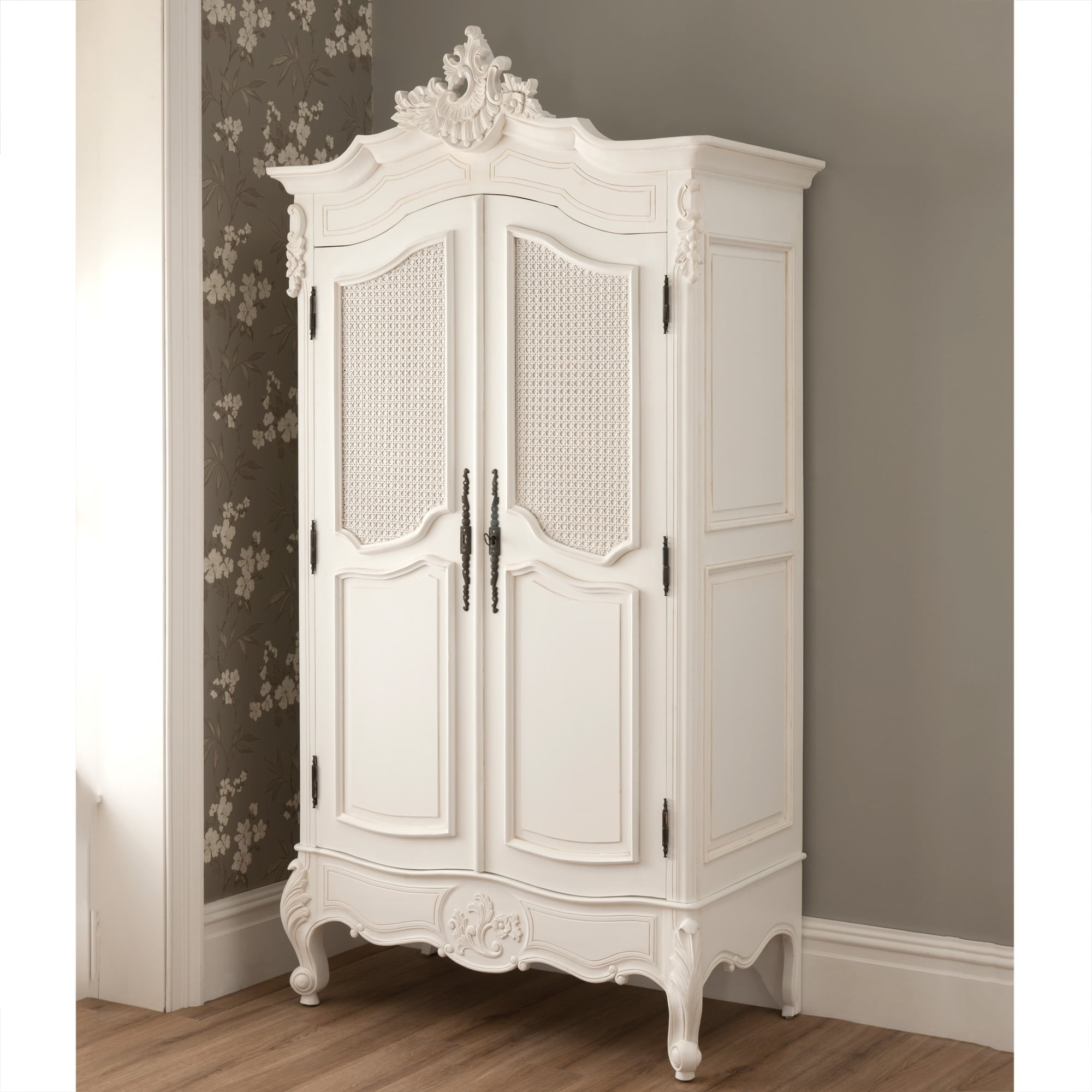 la rochelle 2 door antique french rattan wardrobe. Black Bedroom Furniture Sets. Home Design Ideas