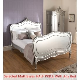 La Rochelle Lille Antique French Silver Bed (Size: Double) + Mattress - Bundle Deal
