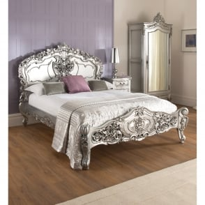 Silver Rococo Antique French Bed (Size: Double)