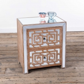 Labyrinth Mirrored Wooden Bedside Cabinet