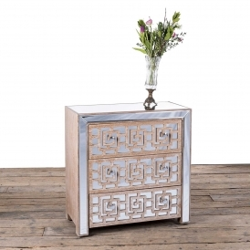 Labyrinth Mirrored Wooden Chest Of Drawers