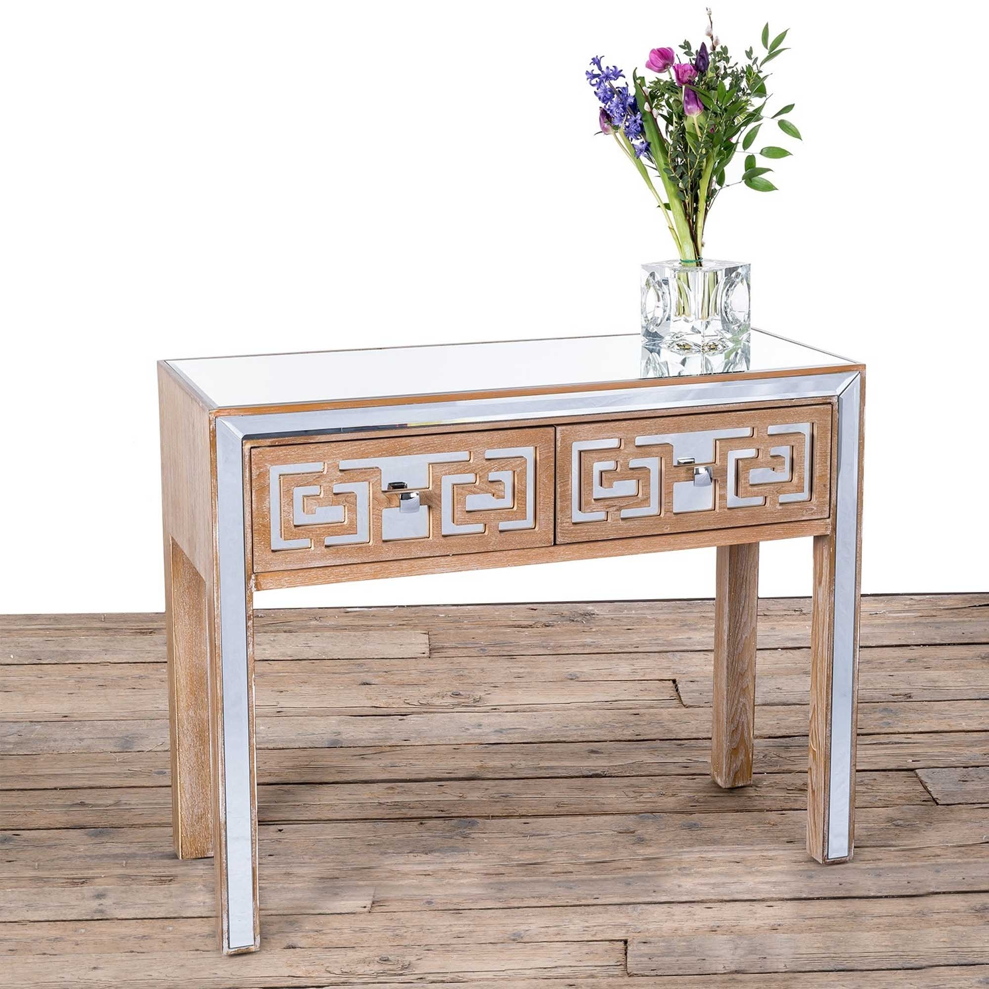 Labyrinth Mirrored Wooden Console Table Labyrinth Mirrored