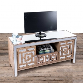 Labyrinth Mirrored Wooden Entertainment Unit