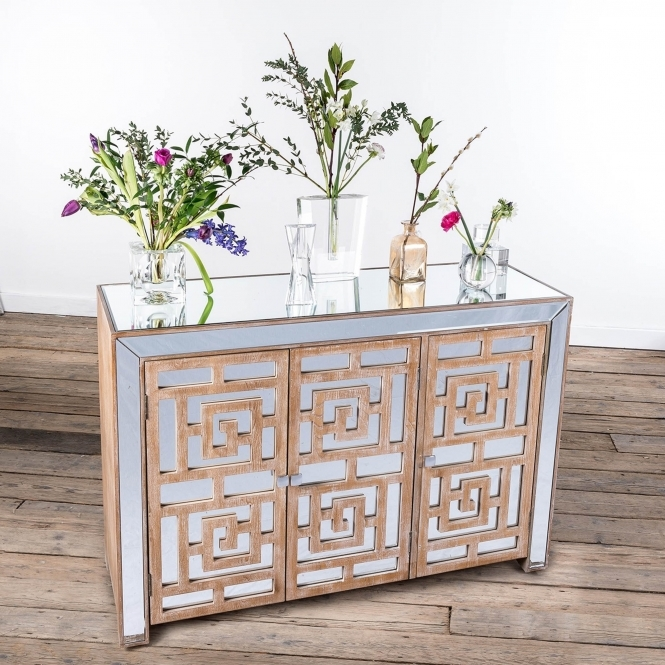 Labyrinth Mirrored Wooden Sideboard