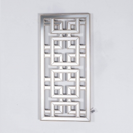 Labyrinth Mirrored Wooden Silver Wall Mirror