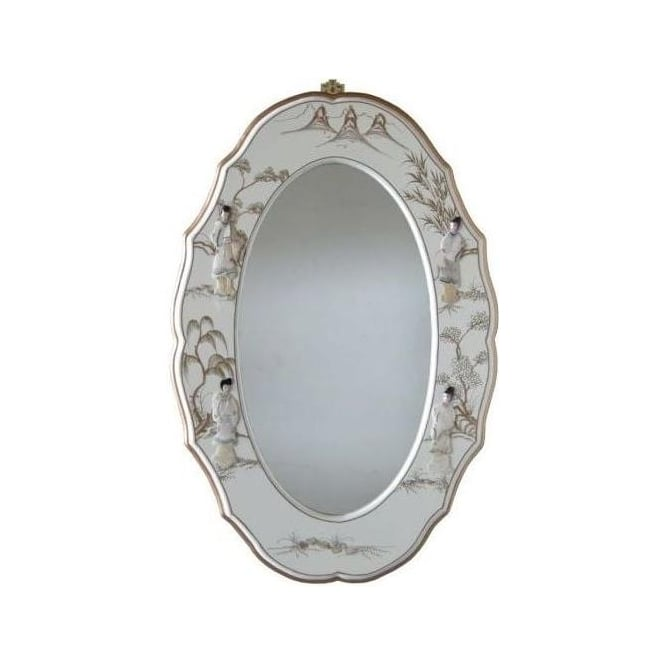 Lacquer Wall Mirror with Mother of Pearl Carvings