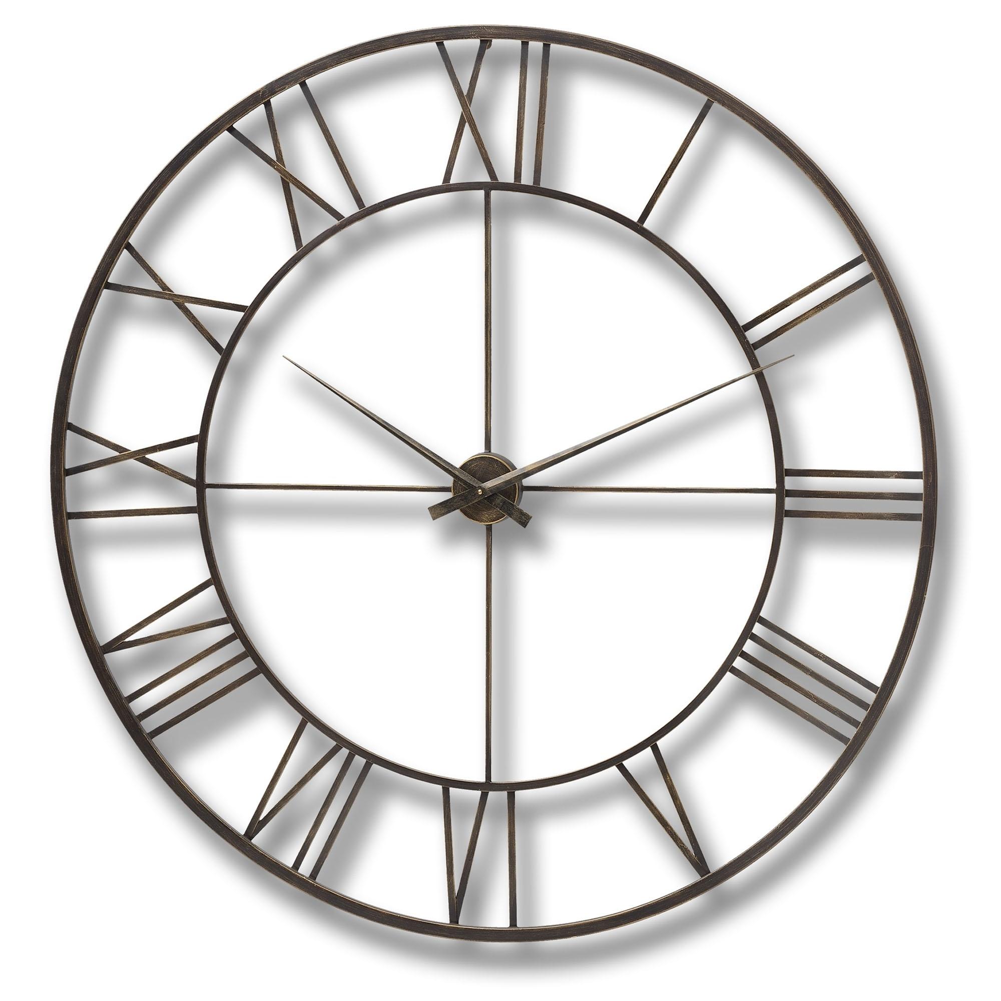 Large Antique Brown Metal Frame Round Clock | Clock | HomesDirect365