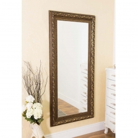 Large Antique French Style Bronze Wall Mirror